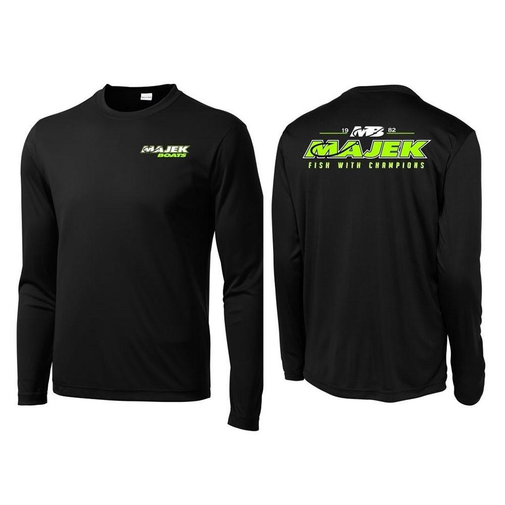 MB Fish w/Champions Long Sleeve Drifit - Black/Lime Print