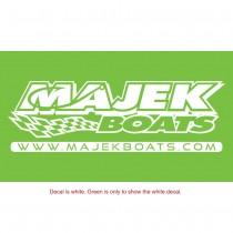 "Majek Boats Diecut Decal - 12"" x 3.25"" (WHITE)"