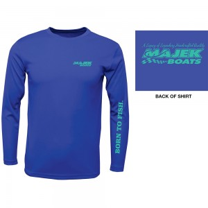 Youth Born to Fish Long Sleeve Drifit Tee - Blue